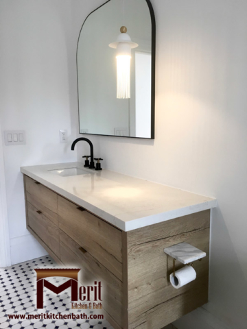 Modern Bathroom Vanity With Austrian Laminate And Quartz Countertop