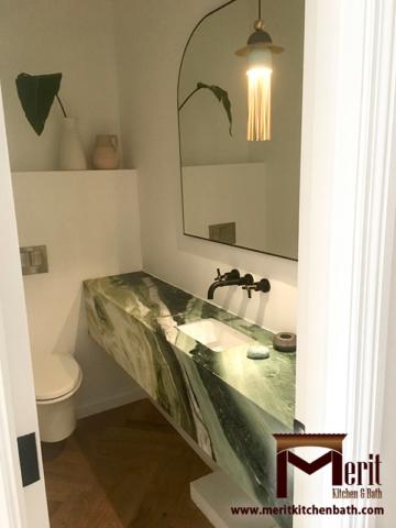 Modern Bathroom Vanity With Green Marble