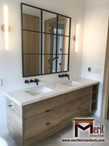 Modern His And Hers Style Bathroom Vanity With Austrian Laminate And Quartz Countertop