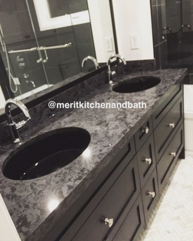Transitional Bathroom Vanity With Black Maple Wood And Black Marble Countertop