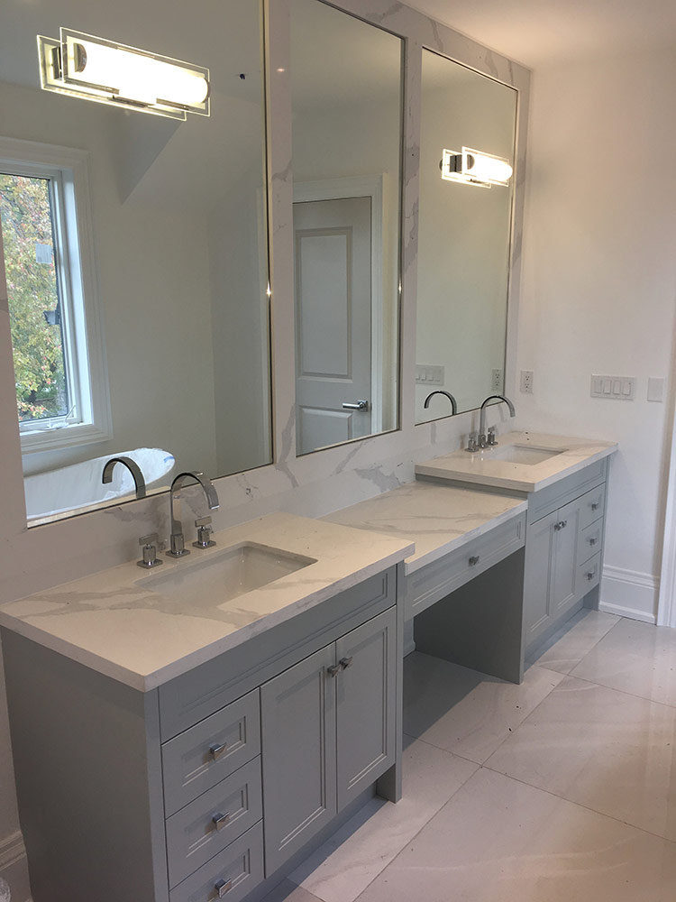 Transitional Bathroom Vanity With Grey Painted Mdf Quartz Countertop And Stone Frame Mirror