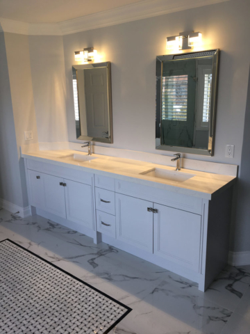 Transitional Bathroom Vanity With Light Grey Painted Mdf 2