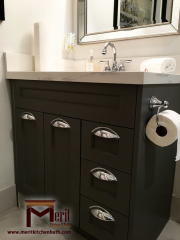 Traditional Vanity with Grey Painted MDF, and Quartz Countertop